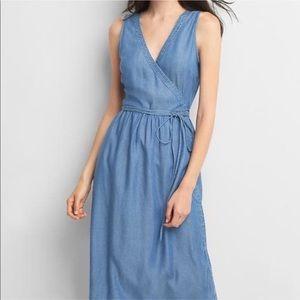 GAP | Chambray / Denim wrap pocket dress